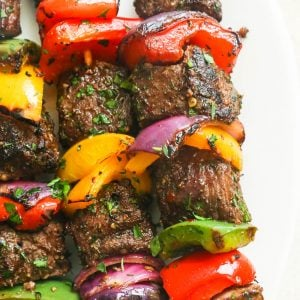 Steak Kabobs served in a plate