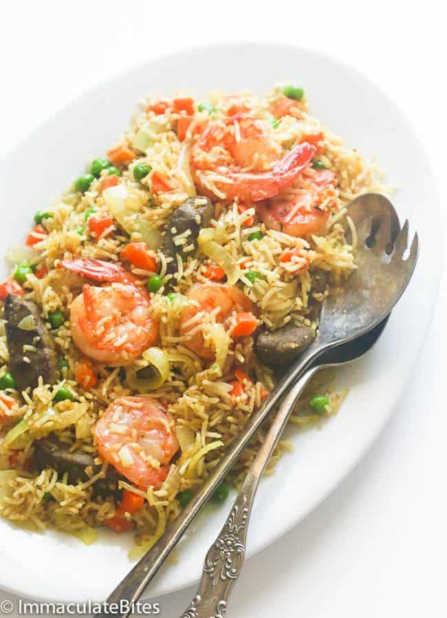 Nigerian Fried Rice with Shrimp