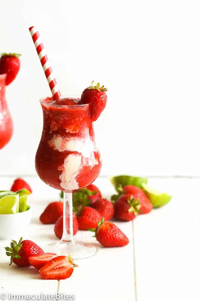 Strawberry Daiquiri with Straw