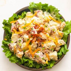 Ranch Potato Salad served in a Lettuce Bowl