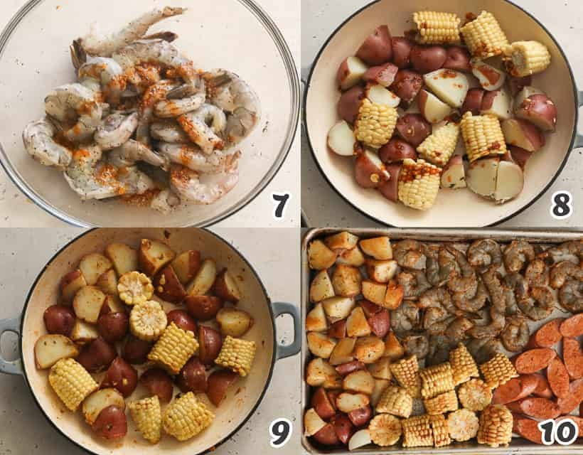 Coating the shrimp, corn, potatoes, and sausages with Creole butter sauce