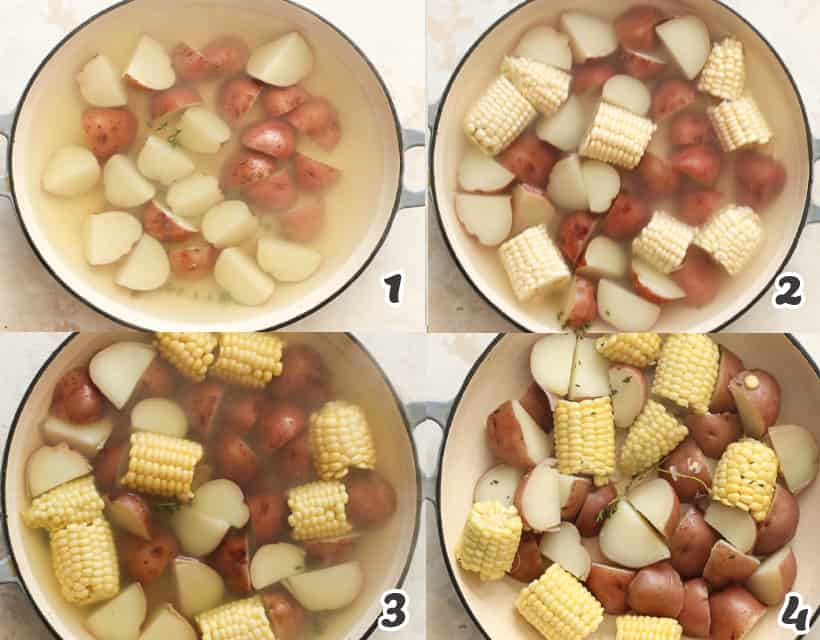 Boiling red potatoes and corn