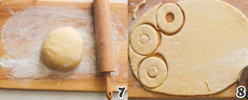 Cutting the dough into ring shape old-fashioned doughnuts