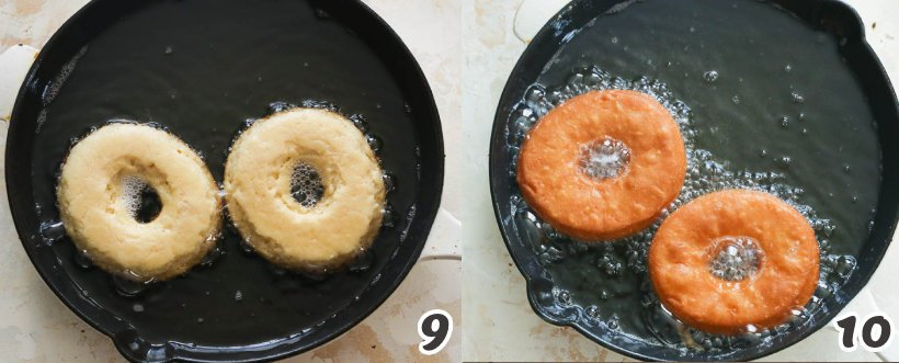 Frying 2 pieces of old-fashioned doughnuts in a black skillet