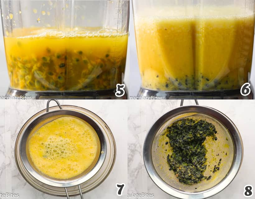 Blending the passion fruit to make juice