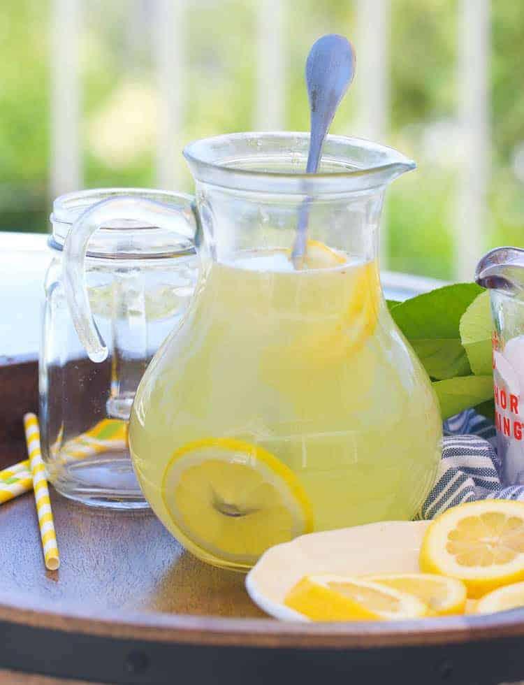 A pitcher of homemade lemonade