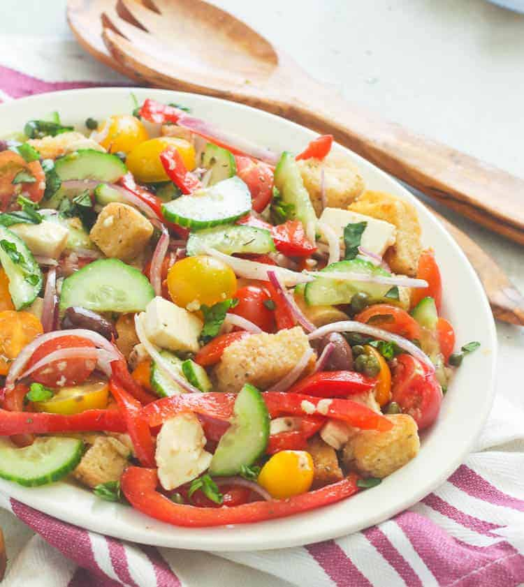 Panzanella salad on a serving dish