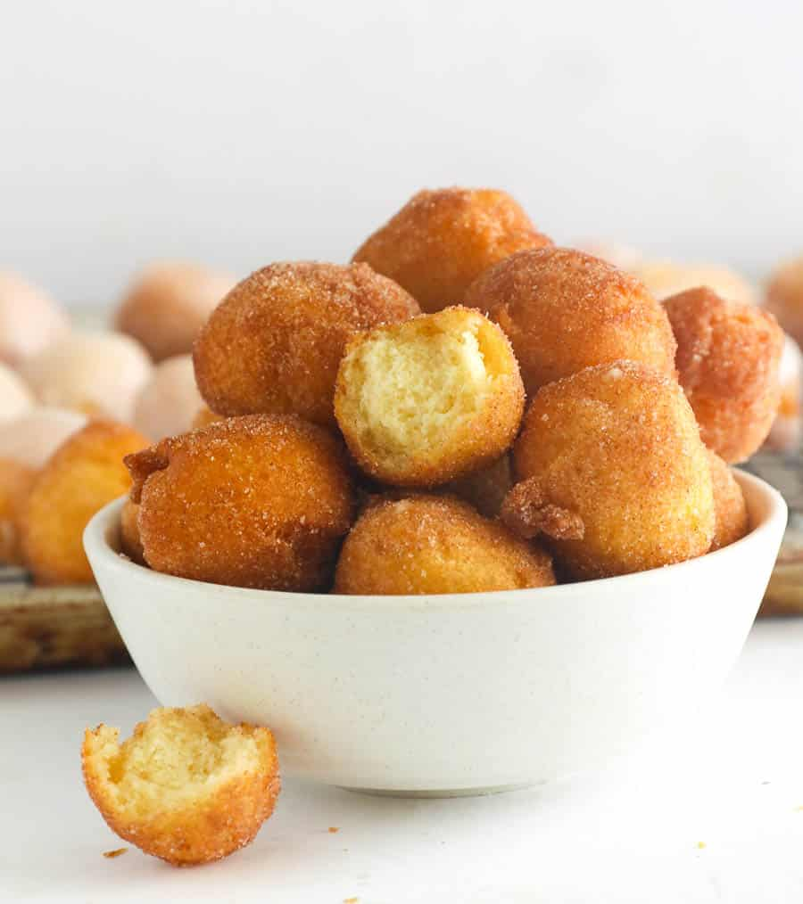 Donut Holes in a White Bowl