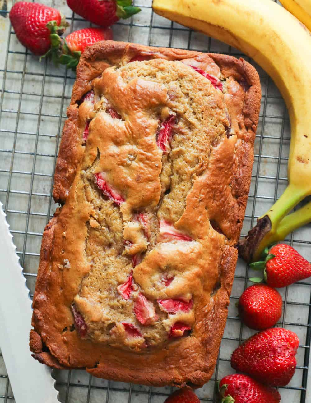 Strawberry Banana Bread on a Cooling Rack
