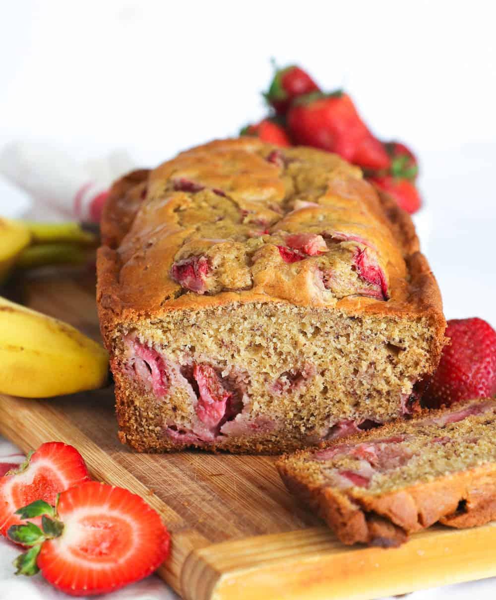 Moist banana bread loaded with chunky fresh strawberries