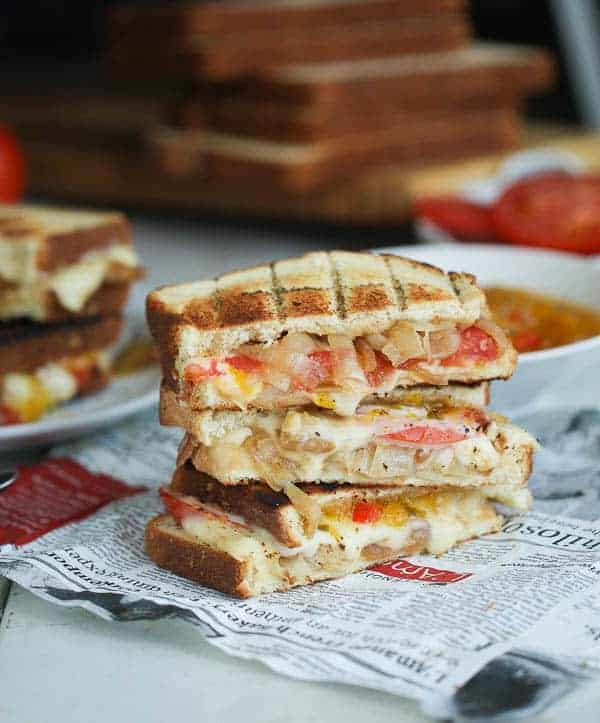 Stack of sliced African grilled sandwiches