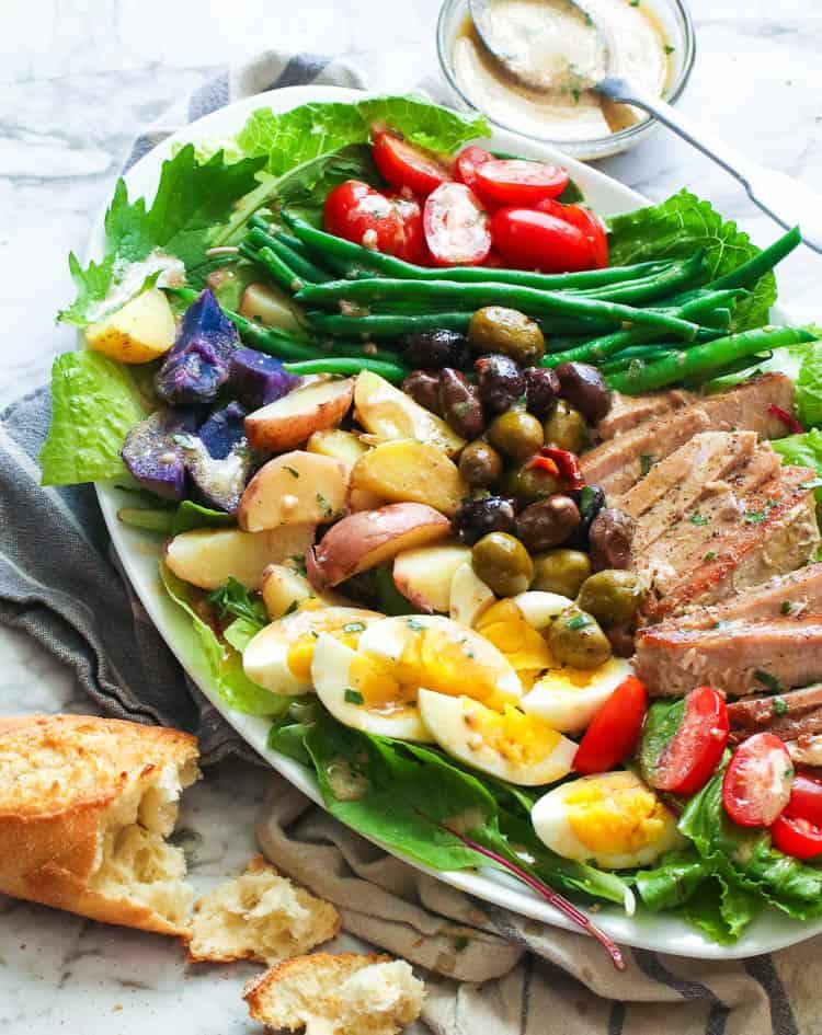 Nicoise Salad on oval plate