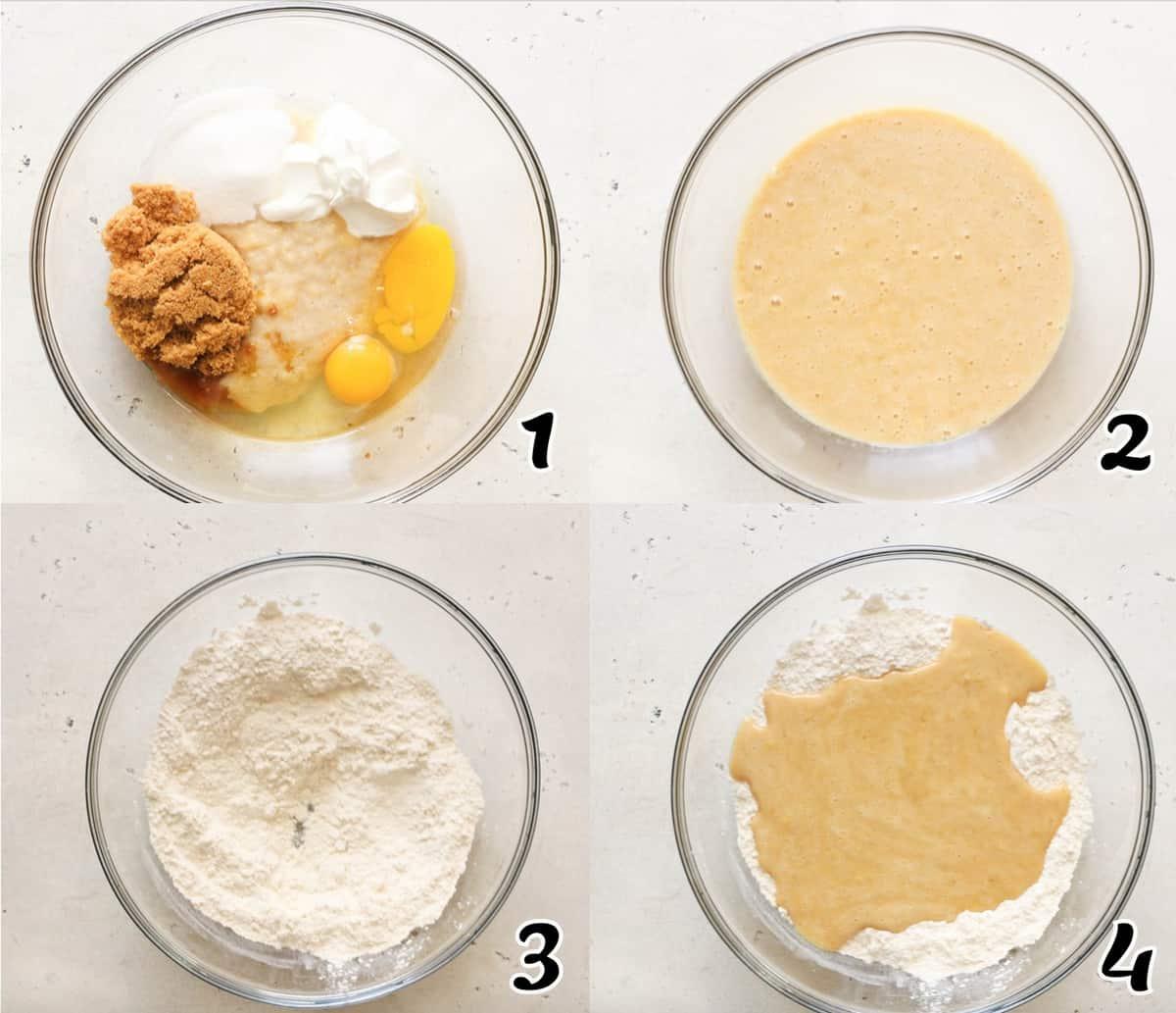 Strawberry Banana Bread Steps 1-4