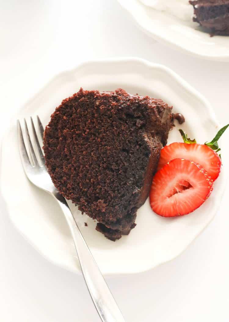 a slice of chocolate pound cake