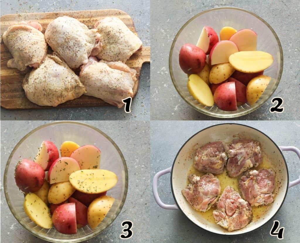Chicken Vesuvio Steps 1-4