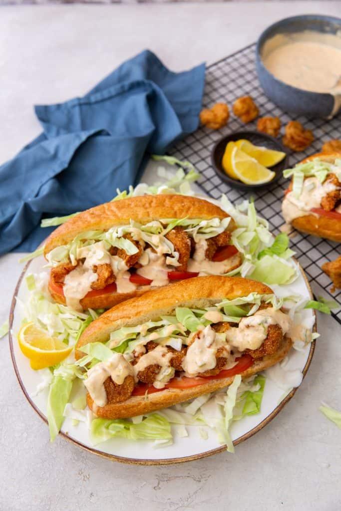 Shrimp Po Boy Sandwich with Sauce