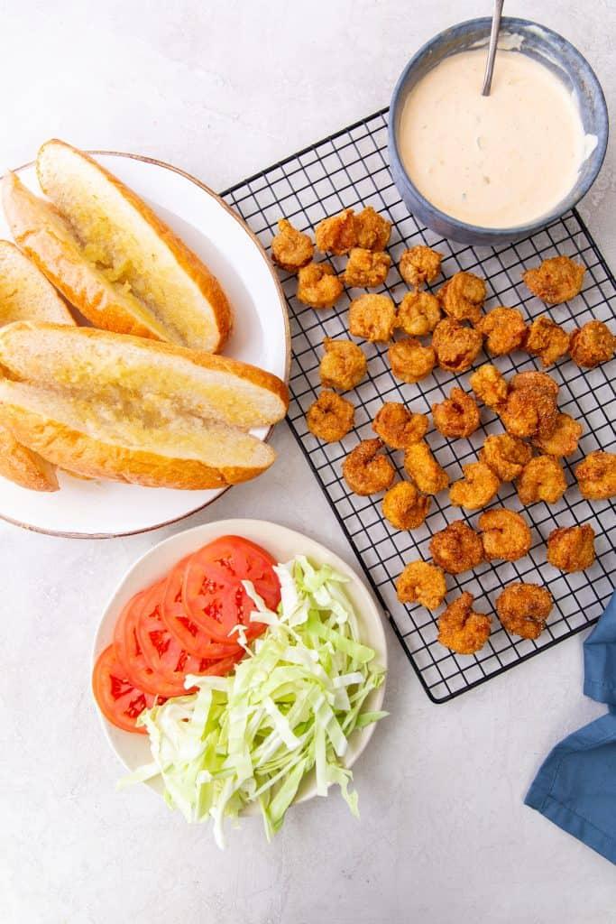 Shrimp Po Boy Sandwich Prep