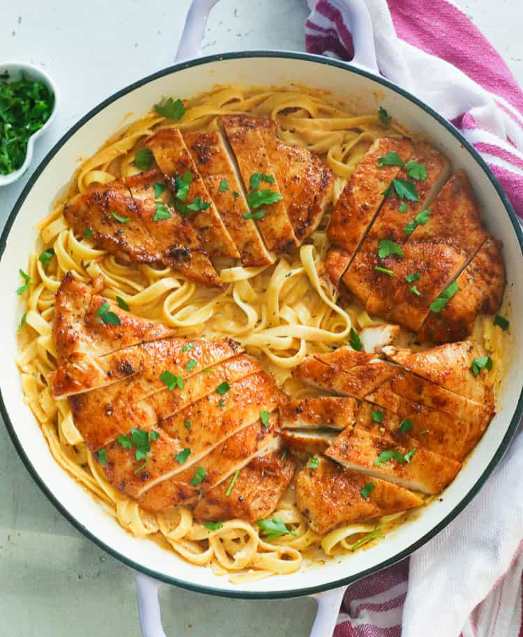 Cajun Chicken Alfredo in a Pan