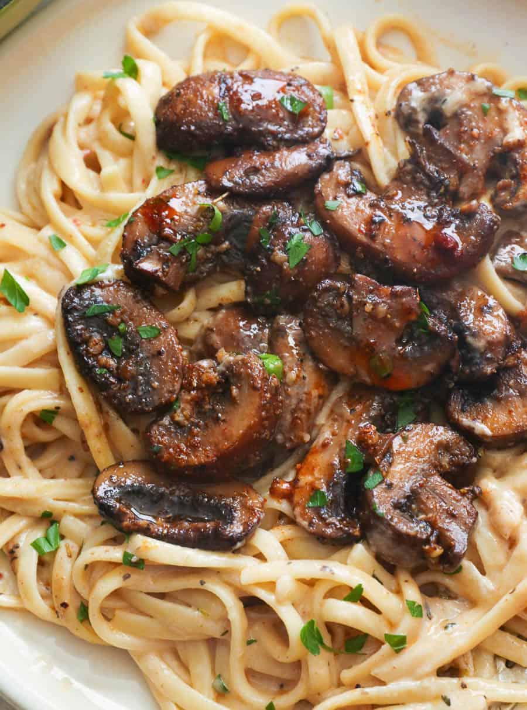 A Serving of Creamy Mushroom Pasta