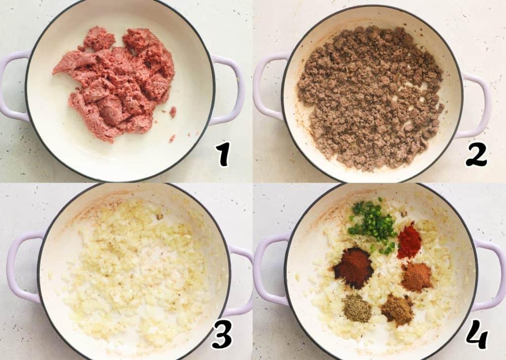 Taco Pasta Steps 1-4