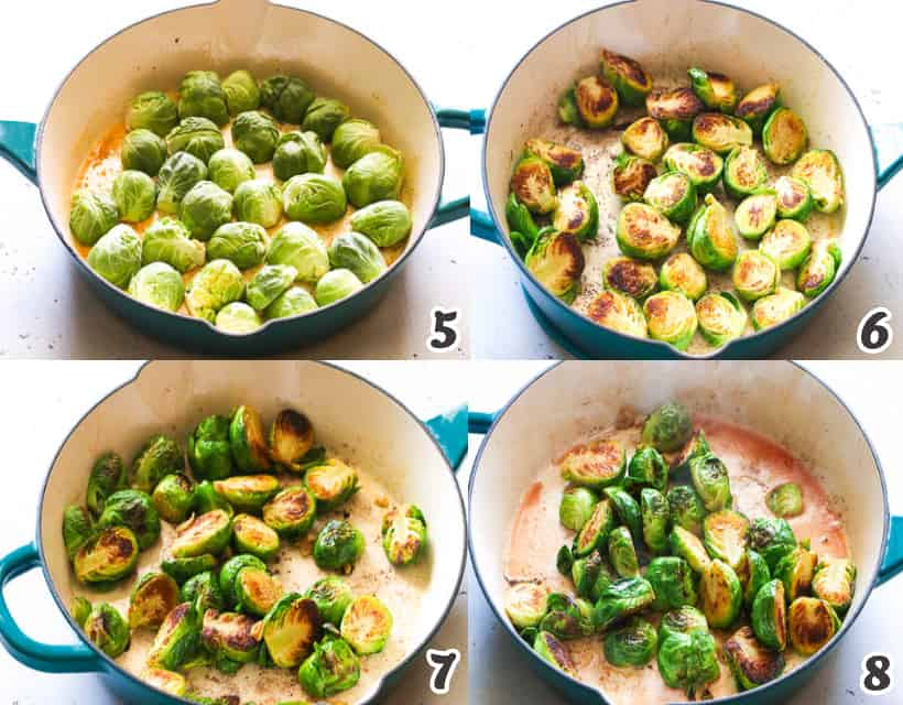 Adding the brussel sprouts into the butter mixture