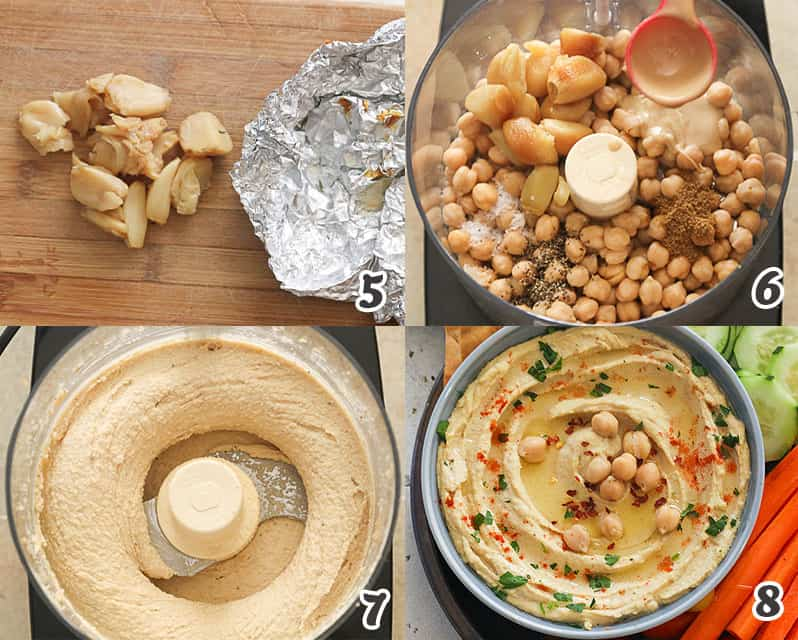 Chickpeas and other ingredients