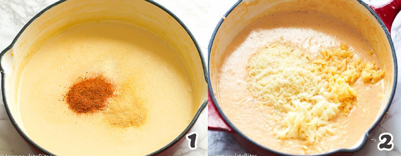 Making the cheese sauce for lobster mac and cheese