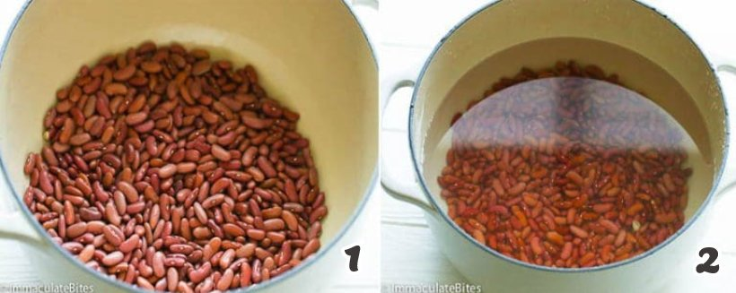 Soaking the red beans in a pot of water