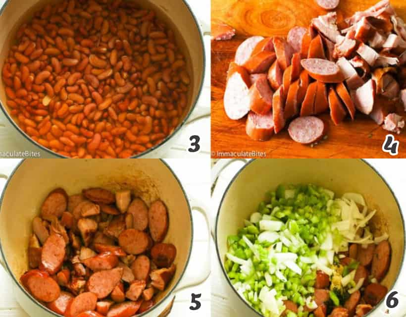 Sauteing sausage and veggies for red beans and rice recipe