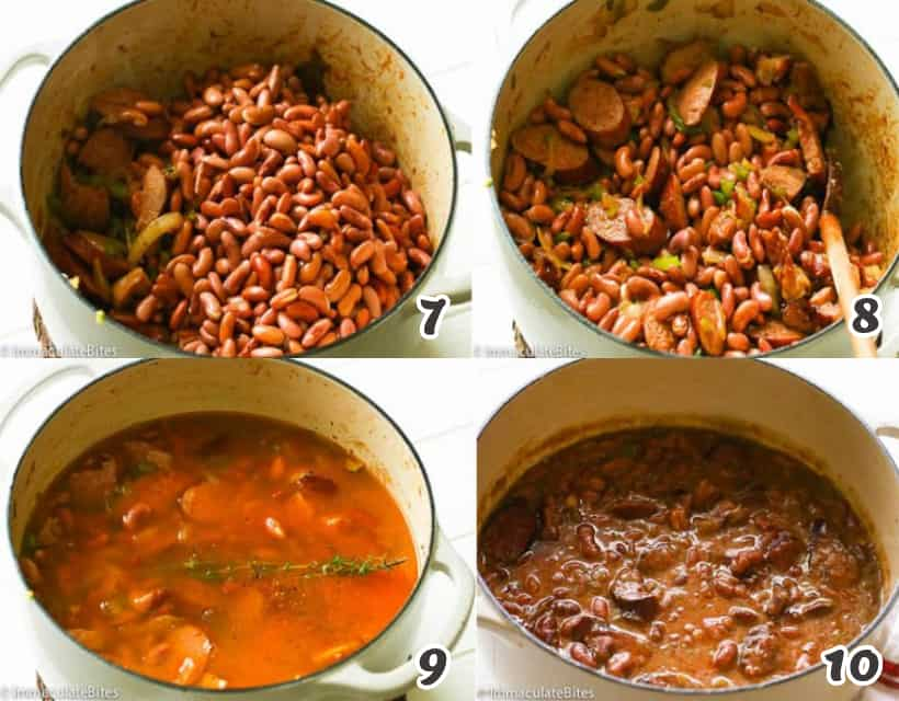 Cooking the red beans for red beans and rice recipe