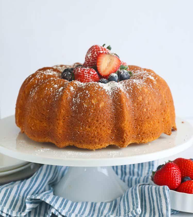 Sour Cream Pound Cake on a cake stand