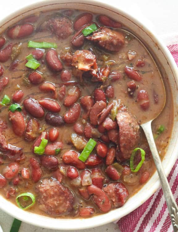 Instant Pot Red Beans with sliced green onions