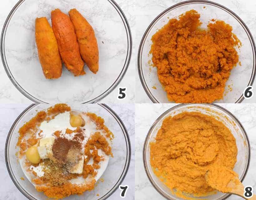 Making the sweet potato mixture
