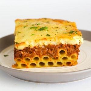 A big serving of Greek lasagna