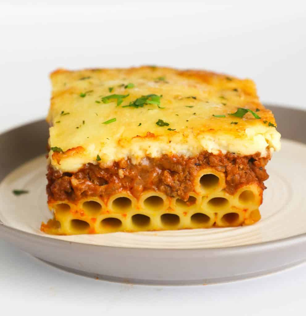 A Slice of Pastitsio on a Plate