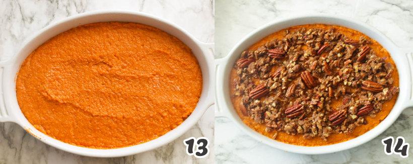 Assembling sweet potato casserole with pecans