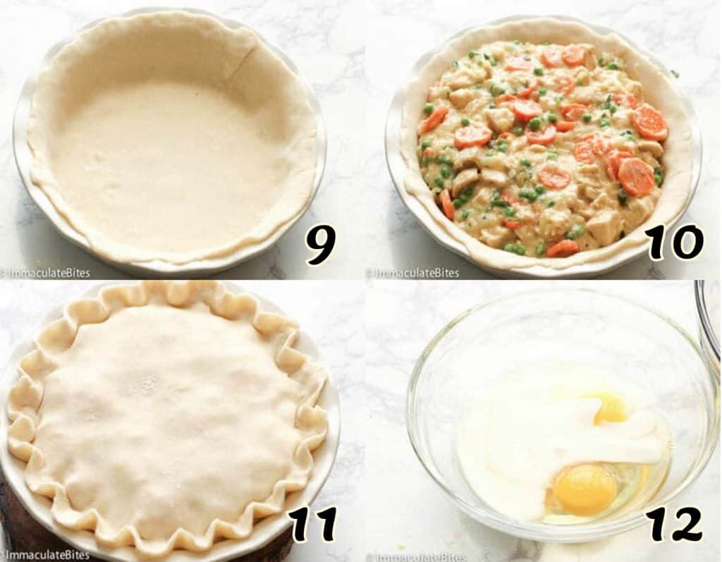 Transferring cooked chicken pot pie into prepared crust