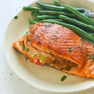 Crab-Stuffed Salmon with green beans