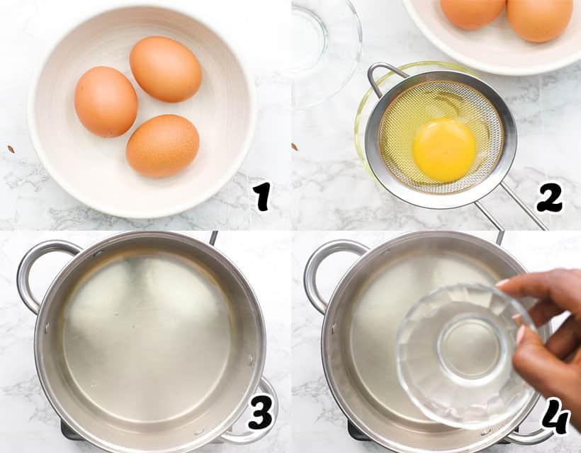 Cracking Egg and Adding Vinegar into the Pot