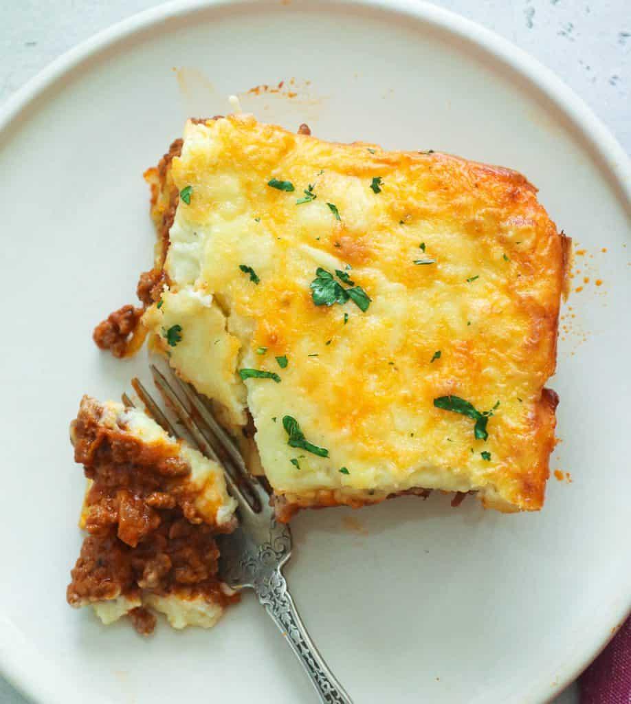 Forked Slice of Cheesy Greek Pastitsio