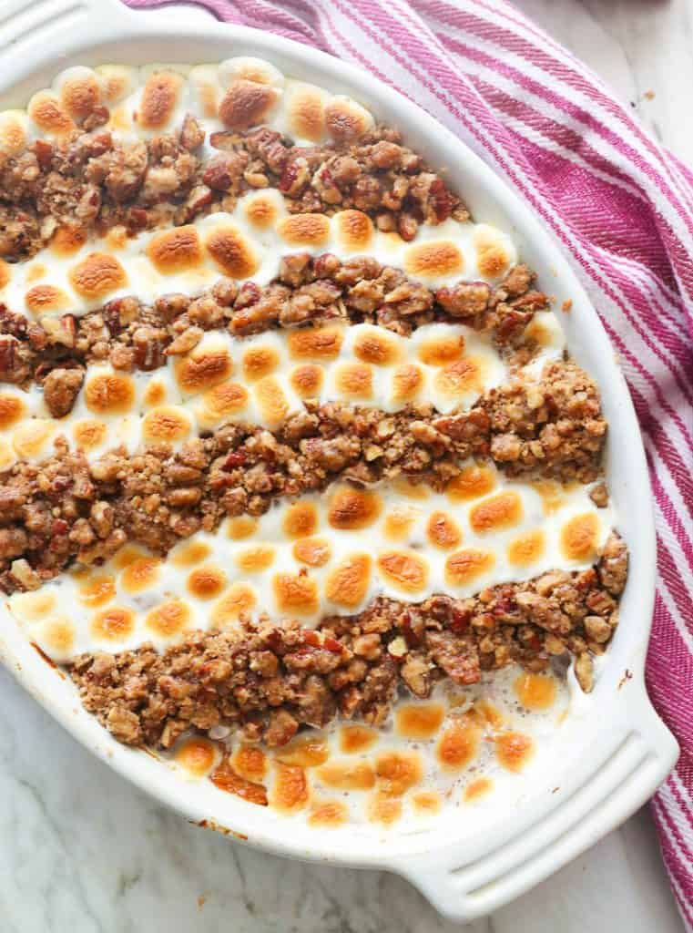 Freshly Baked Sweet Potato Casserole with Marshmallows and Pecans