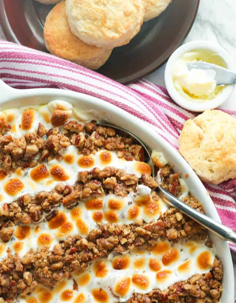 Sweet Potato Casserole with Marshmallows Paired with Biscuits
