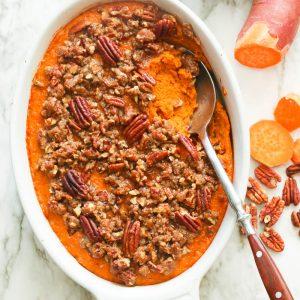 Sweet potato casserole with sweet potatoes on the side