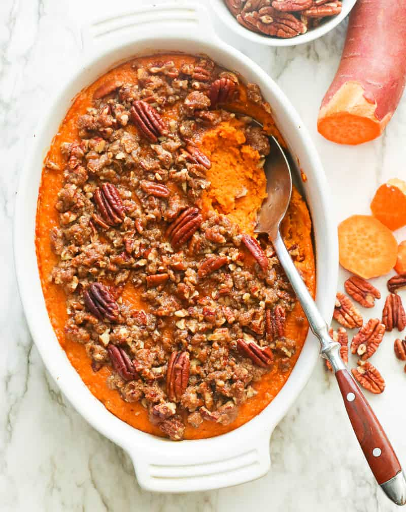 Sweet Potato Casserole topped with Pecans
