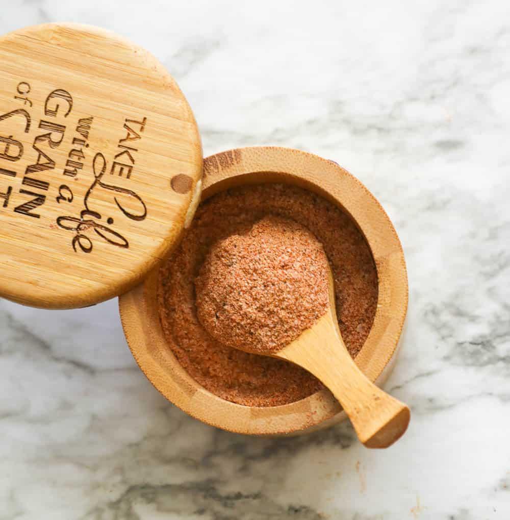 Homemade Seasoned Salt in a  Wooden Canister