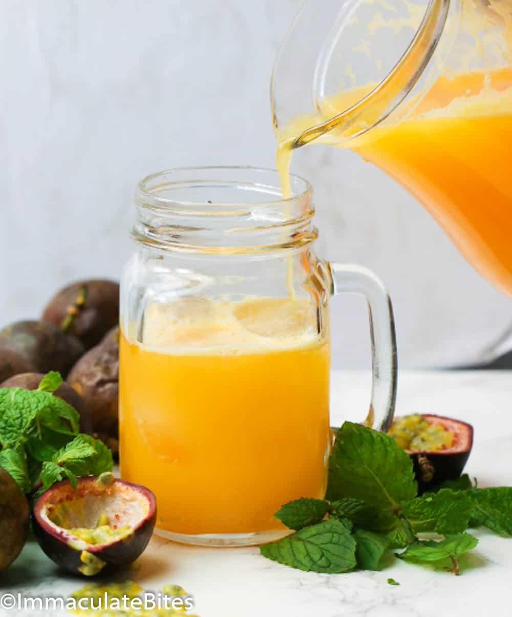 Pour Shot of Passion Fruit Juice Drink