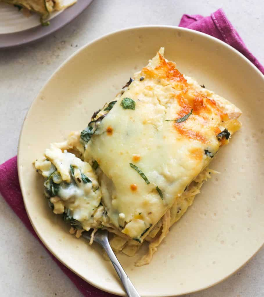 A Slice of Chicken Lasagna on a Plate