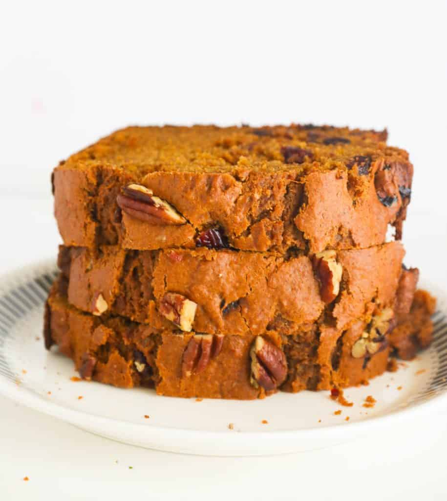 Slices of Sweet Potato Bread on a Plate