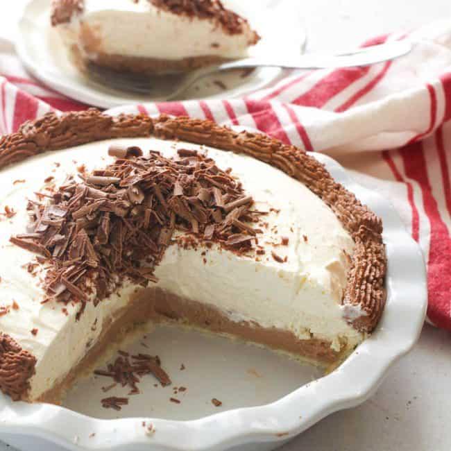 Sliced Open French Chocolate Silk Pie