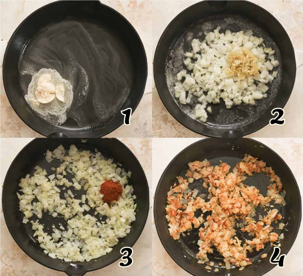 Steps 1-4 on How to To Make Spinach Stuffed Chicken Breast